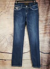 VO Virgin Only Women's Jeans Low Rise THICK STITCH Stones Size 26 A07