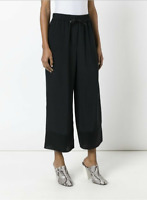 3.1 Phillip Lim Womens Drawstring Wide Leg Pants Black 100% Silk Size 10
