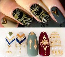 2pcs 4*5mm Sharp Triangle 3D Nail Art Decorations Shiny Gold Alloy Nail Decor