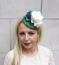 Green Cream Ivory Rose Net Flower Fascinator Hat Races Headpiece Hair Clip 3704