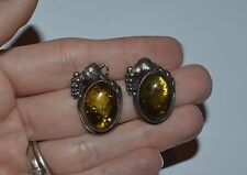 VINTAGE STERLING SILVER AND AMBER GRAPES EARRINGS
