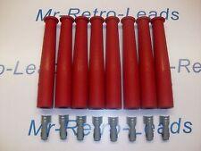 RED IGNITION SPARK PLUG RUBBER BOOTS & TERMINALS X 8  FULL SET V8 ENGINE KIT CAR