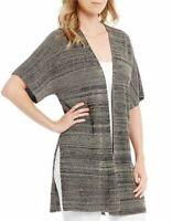 Eileen Fisher Womens Sweater Black Medium S/ M Marled Kimono Cardigan $298 306