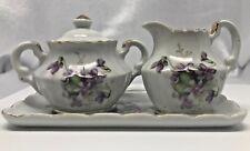 Vintage Miniature CREAM & SUGAR set on TRAY Purple Violets Gold Trim  JAPAN