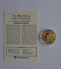 More details for falkland islands £2 1999 silver coin millennium coin collection coa
