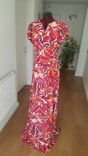MULTI PINK PATTERN LONG LADIES WOMEN PARTY DRESS SIZE 10
