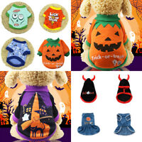 Pet Puppy Halloween Dress Pumpkin Pattern Sweatshirts Dog Warm Winter Dress