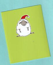Sheep Lamb Santa Fleece Navidad Christmas Cards Box 10 Silk Screen Handmade Us*