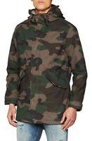 JACK & JONES Camo Faux Fur Parka Jacket Teddy Fur Lined Warm Hooded Winter Coat