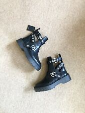 Zara Black Cut Out Biker Ankle Boots With Studs And Buckles UK4 EU37 US6.5 # 500