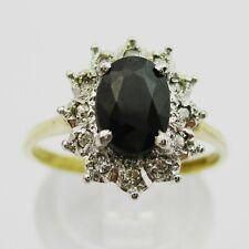 Pretty 9ct Gold Sapphire & Diamond Cluster Ring. Size L1/2