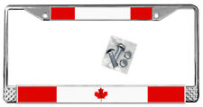 Canadian Flag License Plate Frame Gifts Polished Metal Canada  TXT Can Add Text