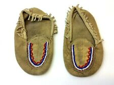 Native American Design Leather Beaded Childrens Kids Toddlers Moccasins Raw Hide