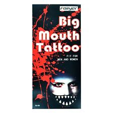 Mouth Temporary Tattoo Halloween Dress Up Costume Gothic Scary Mask Face Paint