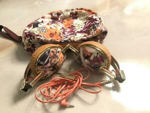 Skullcandy Headphones Floral pattern with cable & storage pouch bag Used