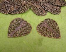 30pc 27x24mm antique bronze finish filigree leaf pendants-9656C