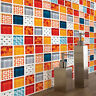6 Pcs Orange Mosaic Self-adhesive Bathroom Kitchen Decor Wall Stair Tile Sticker