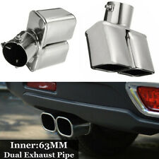 63mm Chrome Stainless Steel Inlet Tail Rear Pipe Tip Muffler Cover Fit Car SUV