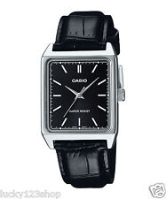 MTP-V007L-1E Black Casio Men's Watch Genuine Leather Band Date Day Brand-New