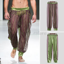 Mens Mesh See-Through Striped Pants Casual Loose Sexy Clubwear Trousers Bottoms