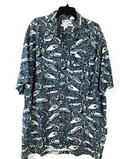 COLUMBIA Mens Shirt Size XXL Blue Fish Print  Linen Blend Button Front