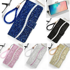 Luxury Bling Glitter PU Leather Flip Card Pocket Strap Case Stand Lot Cover RX