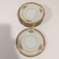"Noritake China 6.5"" Saucer Plates Lot 8 Made In Japan Floral Gold Edge"