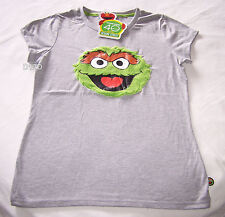 Sesame Street Oscar The Grouch Ladies Grey Fur Face Printed T Shirt Size S New