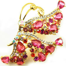 USA BROOCH use Swarovski Crystal PIN fashion clear butterfly gold pink Large