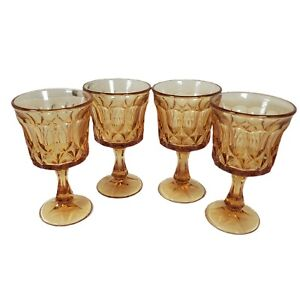 Vintage Noritake Perspective-Amber Iced Tea Glass 476736 Wine Goblet Water Set 4