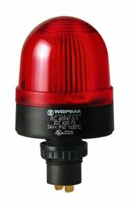 Werma 207 Red LED Beacon, 24 V ac/dc, Steady, Panel Mount 207.100.75