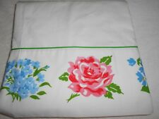 Lady Pepperell Full Flat Percale Sheet Multi Color Roses Painted Unused
