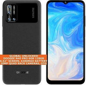 """DOOGEE N40 PRO 6gb 128gb Octa Core 6.52"""" Face Id Android 11 4G LTE Smartphone"""