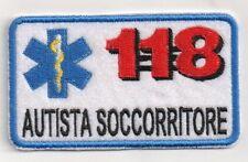 PATCH RICAMO TOPPA 118 AUTISTA SOCCORRITORE TUTA DIVISA AMBULANZA