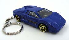 Custom Keychain Lamborghini Countach Blue Black and Gold Key Chain Ring Fob