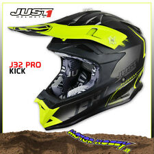 CASCO CROSS ENDURO JUST1 J32 PRO KICK MATT YELLOW BLACK TITANIUM 2018 TAGLIA XL