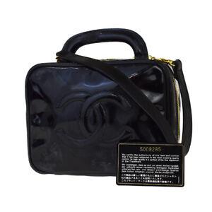 AUTH CHANEL CC 2WAY SHOULDER VANITY HAND BAG PATENT LEATHER BK VINTAGE 11JD006