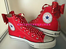 Custom Crystal Diamante Bling Red Party Wedding Converse Size UK 3 4 5 6 7 8 9