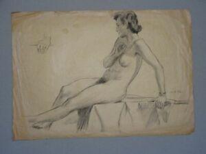 Weiblicher Akt mit Armbanduhr Arthur Krause-Carus Kohlezeichnung 1952