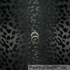 BonEful Fabric Cotton Quilt Gray Black Cheetah Leopard Skin Stripe Safari SCRAP