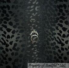 BonEful Fabric Cotton Quilt Gray Black Cheetah Leopard Skin Stripe Safari SCRAP