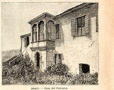 Stampa antica ARQUA' casa del Petrarca Arquà Padova Veneto 1896 Old Print