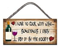 SHABBY CHIC FUNNY SIGN I LOVE TO COOK WITH WINE KITCHEN GIFT PRESENT  31