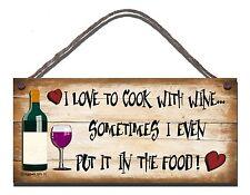 Shabby Chic BUFFA firmare I LOVE A Cucinare Con Vino Cucina Regalo 31