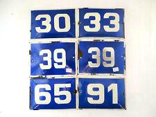 Vintage Enamel Porcelain Sign House Door Number 30,33,39,65,91 Blue