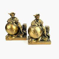 Vintage CHRISTOPHER COLUMBUS w/ Globe CRAFTSMAN Bronzed HEAVY METAL BOOKENDS