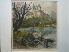 "A fine original signed etching by Luigi Kasimer -""Melk monastary on the Danube"""