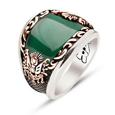 handmade Emerald Green Agate Stone Sterling Silver Mens Ring