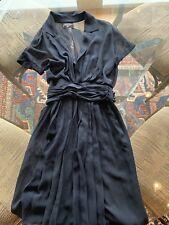 Chanel Midnight Blue Pleated Short Sleeve Dress Size 38