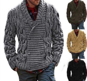 Men Wool Blended Shawl Collar Cardigan Sweater Button Down Knitwear with Pockets
